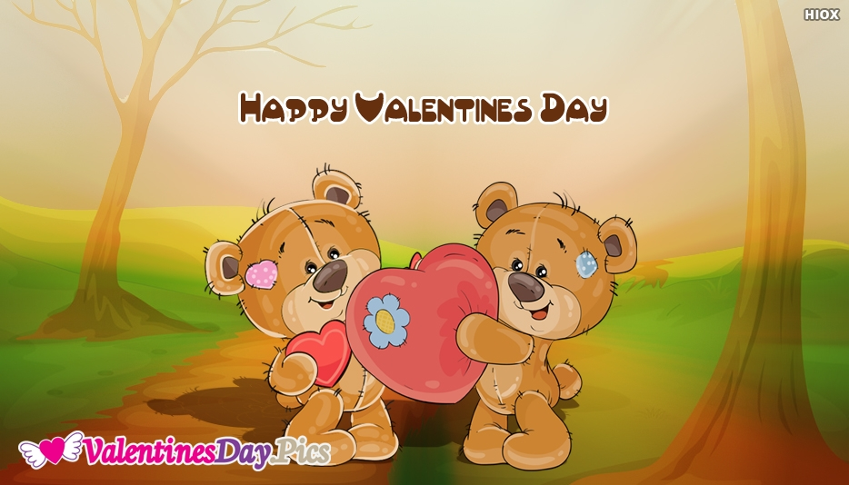 Happy Valentines Day Wishes With Cute Bear
